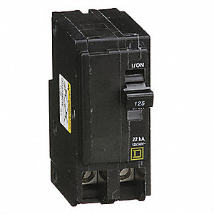 Plug In Circuit Breaker, QO, Number of Poles 2, 125 Amps, 120/240VAC, High Interrupting Capacity