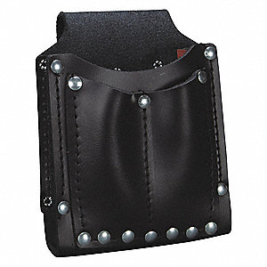 Black Utility Pouch, Leather, Fits Belts Up To (In.): 1