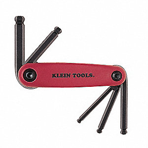 Short Fold-Up Metric Natural Ball End Hex Key Set, Number of Pieces: 5