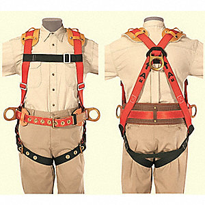 XL General Industry Full Body Harness, 5000 lb. Tensile Strength, Black/Red/Brown
