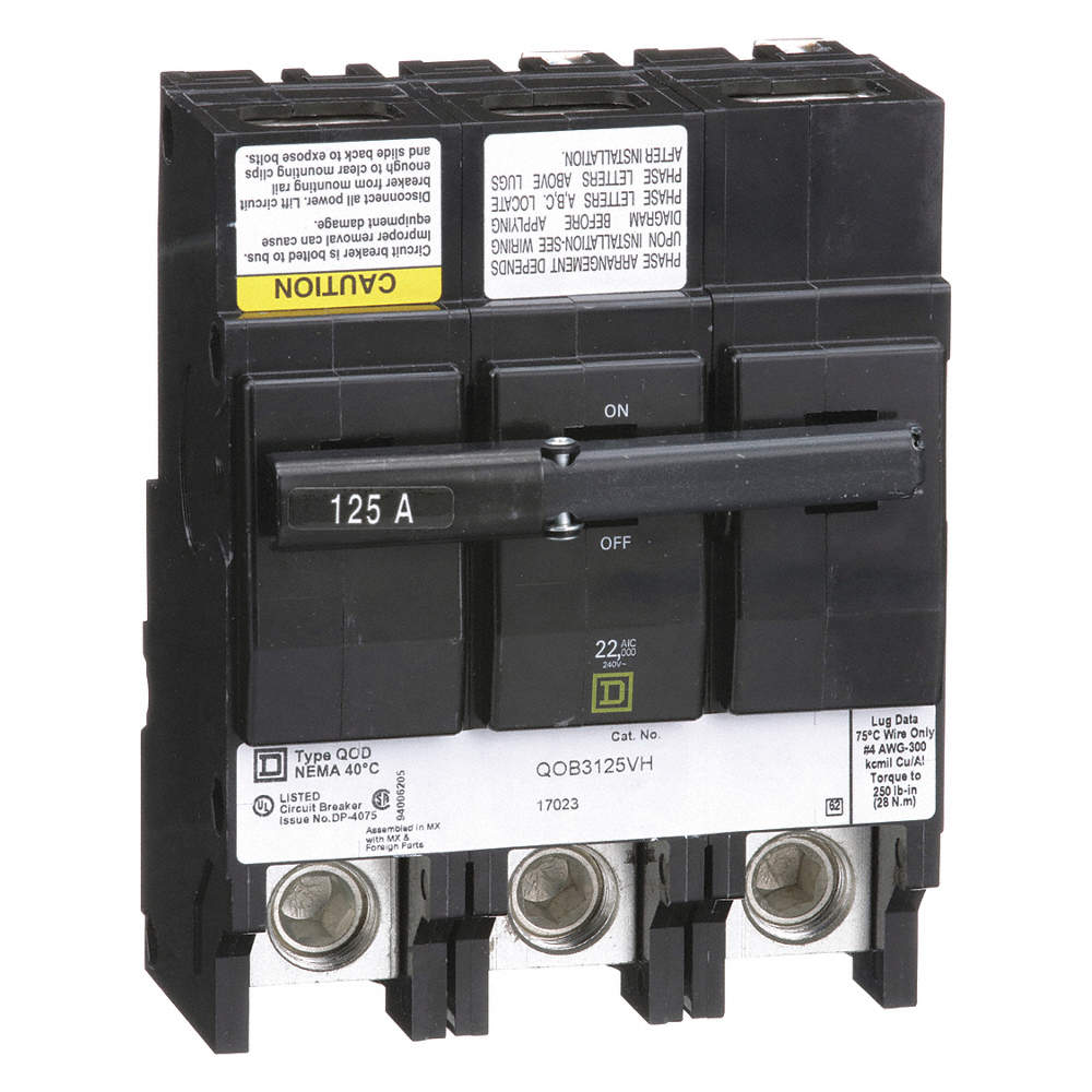 SQUARE D Bolt On Circuit Breaker, 125 Amps, Number of Poles: 3 ...