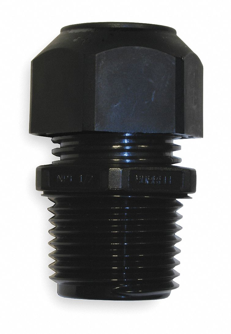 Liquid Tight Cord Connector,  0.17 in to 0.45 in Cord Dia. Range,  1/2 in MNPT,  Nylon