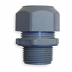 "1.41""L Nylon Liquid Tight Cord Connector, Gray, 0.18"" to 0.31"" Cord Dia. Range"