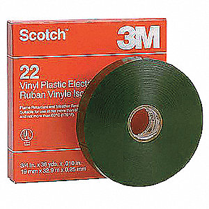 "Black Flame Retardant Vinyl Electrical Tape, 3/4"" Width, 108 ft. Length, 10 mil Thickness"