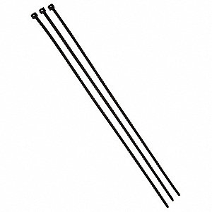 Heavy Duty Cable Tie, Nylon, Black, Indoor/Outdoor, Tensile Strength: 120 LB.