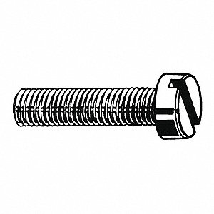 "#10-24 Machine Screw, Carbon Steel, 1-1/4"" L, 100 PK"