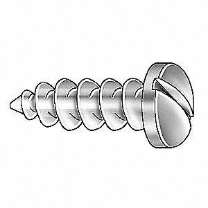 "#10 x 5/8"" Plain 18-8 Stainless Steel Tapping Sheet Metal Screw with Pan Head Type, 100 PK"