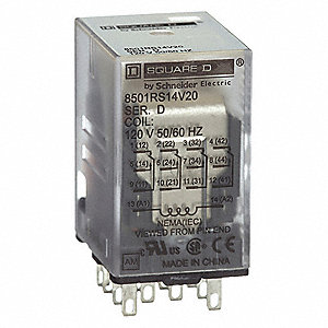 120VAC, 14-Pin Square Base General Purpose Plug-In Relay; AC Contact Rating: 5A @ 240V