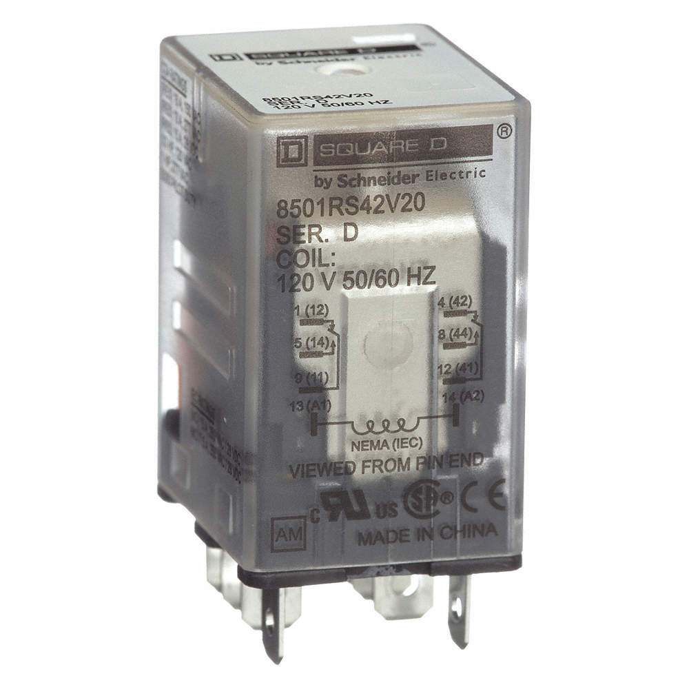 SQUARE D General Purpose Relay, 120V AC Coil Volts, 15A @ 240V AC Contact  Rating - Relay - 2DW42|8501RS42V20 - GraingerGrainger