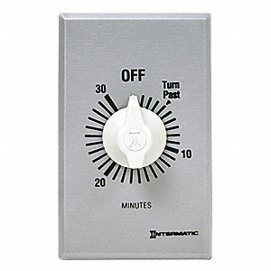 Spring-Wound Timer, Silver, Timing Range:  0 to 30 min., 20 Max. Amps @ 125VAC