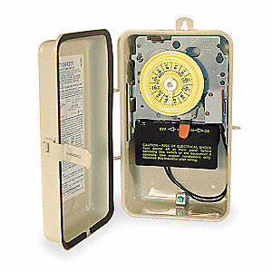 Electromechanical Water Heater Timer, 208 to 277VAC Voltage, 40 Amps, Max. Time Setting: 23 hr.