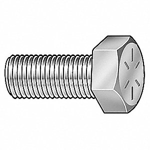 "Grade 8 Hex Head Cap Screw 7/8""-9, 2"" Fastener Length, Zinc Yellow Fastener Finish, Steel, PK10"