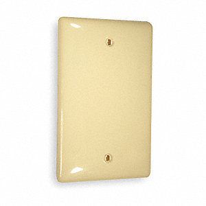 Box Mount Blank Wall Plate, Ivory, Number of Gangs: 1, Weather Resistant: No