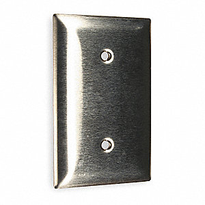 Blank Strap Mount Wall Plate, Silver, Number of Gangs: 1, Weather Resistant: No
