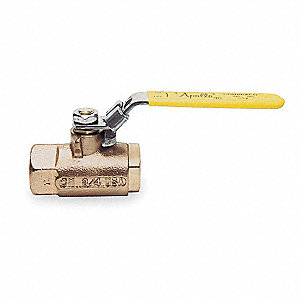 "Bronze FNPT x FNPT Ball Valve, Locking Lever, 1-1/4"" Pipe Size"