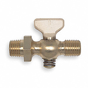 "1/4"" Tee Air Cock, MNPT Hexagon Shoulder x MNPT, 80 psig Max. Pressure, Spring Bottom Type"