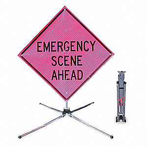 "Text Emergency Scene Ahead, Reflective Vinyl Traffic Sign, Height 36"", Width 36"""