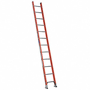 "Fiberglass Straight Ladder, 12 ft. Ladder Height, 19"" Overall Width, 300 lb. Load Capacity"