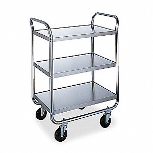"39-1/2""L x 25-1/2""W x 44""H Silver Stainless Steel Welded Utility Cart, 500 lb. Load Capacity, Number"