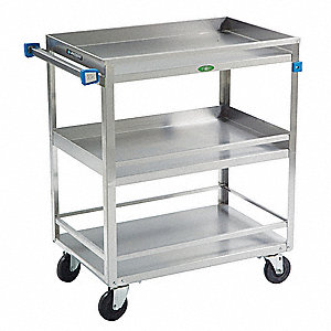 "31""L x 19""W x 33-3/4""H Silver Stainless Steel Welded Utility Cart, 500 lb. Load Capacity, Number of"