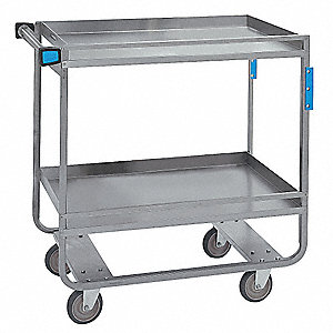 Lipped/Flush Combination Stainless Steel Utility Cart, 700 lb. Load Capacity, Number of Shelves: 2
