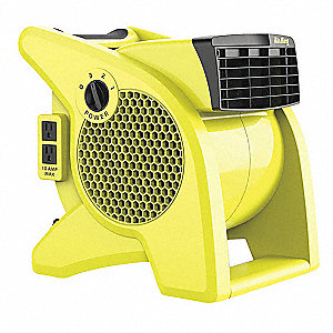 0.95/0.80/0.70 Amps Portable Blower Fan, 350 CFM High, Safety Yellow