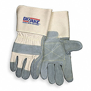 Cowhide Leather Work Gloves, Gauntlet Cuff, Gray, Size: XL, Left and Right Hand