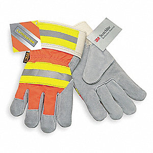 Cowhide Leather Work Gloves, Safety Cuff, Gray Palm, HiVis Orange and Yellow Back, Size: L, Left and