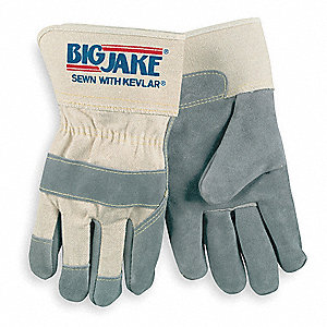 Leather Palm Gloves,L,Gray,PR