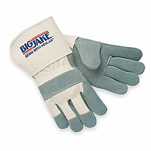 Cowhide Leather Work Gloves, Gauntlet Cuff, Gray Palm, Natural Back, Size: L, Left and Right Hand