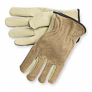 Cowhide Leather Driver's Gloves with Shirred Cuff, Tan, L