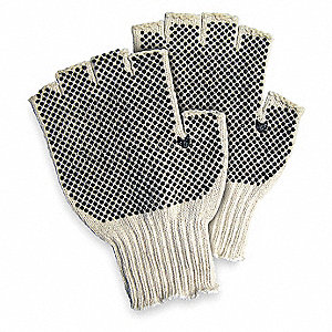 Knit Gloves, Polyester/Cotton Material, Knit Wrist Cuff, Natural/Black, Glove Size: S