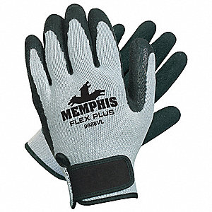 10 Gauge Textured Natural Rubber Latex Coated Gloves, Size M, Black/Gray