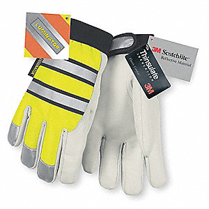 Multi-Task Leather Gloves, Grain Goatskin Palm Material, Hi-Visibility Yellow and White, S, PR 1