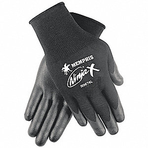 15 Gauge Smooth Biopolymer Coated Gloves, Glove Size: L, Black
