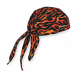 Cooling Hat, Terrycloth, Orange/Black, Universal