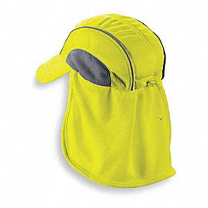 High Performance Hat w/ Neck Shade, Moisture Wicking Fabric, Lime, Universal,1 EA