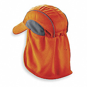 High Performance Hat w/ Neck Shade, Moisture Wicking Fabric, Orange, Universal,1 EA