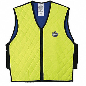"Evaporative Cooling Vest, Nylon, Hi-Visibility Lime, L, Fits Chest Size 41"" to 44"""