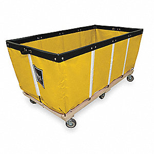 "Yellow Vinyl Basket Truck, 23.9 cu. ft., 600 lb., 60""L X 32""W X 30-3/4""H"