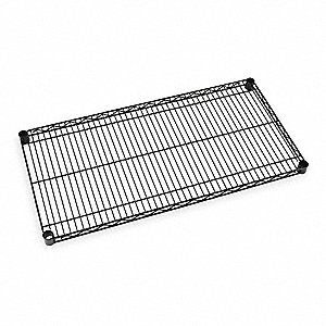"48""W x 24""D Wire Shelf, Epoxy Finish, 800 lb. Shelf Capacity, Black"