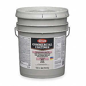 Interior Paint,Enamel,Flat,White,5 gal.