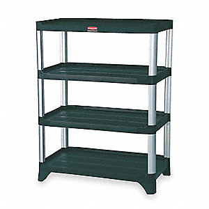 "35-1/4"" x 20"" x 71-1/2"" Freestanding Plastic Shelving Unit, Black"