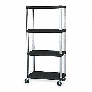 "Plastic Shlving,Open,Mobile,72""H,4 Shelf"