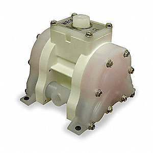 Polypropylene PTFE Multiport Double Diaphragm Pump, 5 gpm, 100 psi