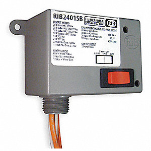 Enclosed Pre-Wired Relay, 24VAC/DC, 120VAC Coil Volts, SPST Contact Form