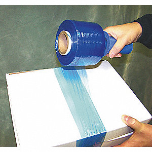 "Stretch Wrap, Hand Dispensed, 1-Side Cling, Standard, 3"" x 1000 ft., Gauge: 80, Blue"