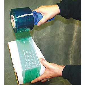 "Stretch Wrap, Hand Dispensed, 1-Side Cling, Standard, 3"" x 1000 ft., Gauge: 80, Green"
