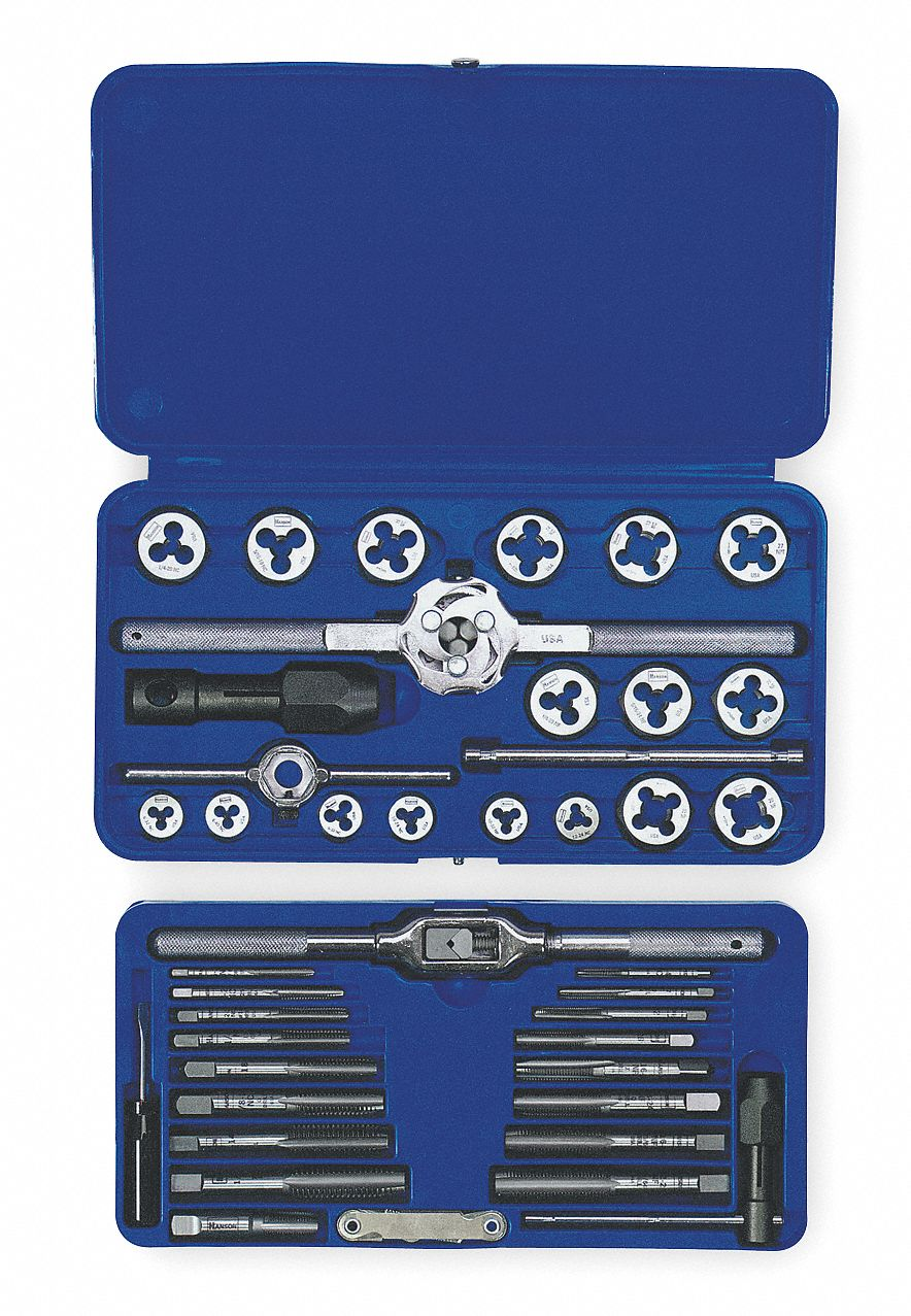Tap and Die Set,  Number of Pieces 41,  Die Shape Hex,  Tap Type Straight Flute