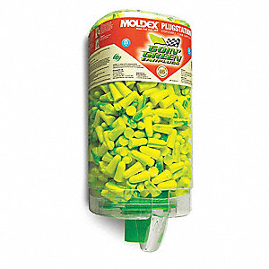 33dB Disposable Tapered-Shape Ear Plugs with Dispenser; Uncorded, Green, Universal
